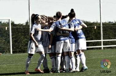 Las jugadoras de la Real celebran el tanto de Sandra Ramajo. Foto: LaLiga