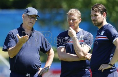 Alexandersson (R) with Lars Lagerback and Heimir Hallgrimsson (Credit: Scanpix)
