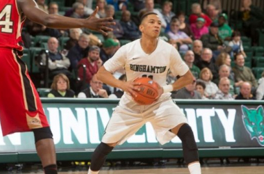 Romello Walker recorded 10 points and 4 rebounds to help lead Binghamton to the 57 - 55 upset win over Vermont on Wednesday night. (Source: Jonathan Cohen - Binghamton Athletics)