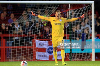 Christian Walton in action for Brighton in a pre-season friendly against Crawley Town. Image courtesy of Gareth Fuller from PA Images on Getty Images.