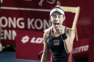 Wang Qiang celebrates the extremely tough win | Photo: Hong Kong Tennis Open, powered by Hong Kong Sony A9 camera