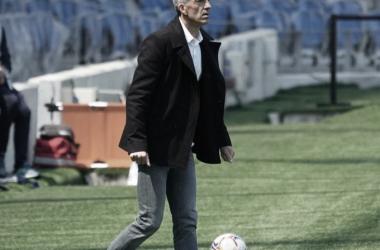 Imanol Alguacil en el área técnica en el partido frente al Sevilla FC. / Vía: Real Sociedad