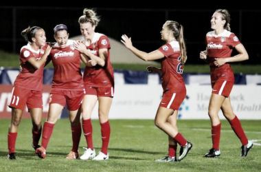Washington Spirit Players celebrate a goal `| Source: Washington Spirit Twitter @WashSpirit