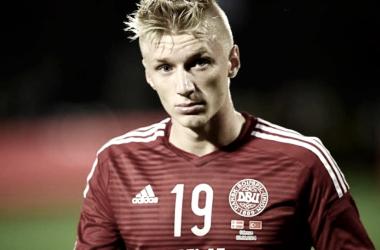 Wass en un partido con su selección, Dinamarca, el año pasado.   Foto: EFE