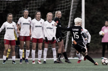Megan Rapinoe takes a free kick in the opening match between the Seattle Reign FC and Washington Spirit. | Photo: isiphotos.com