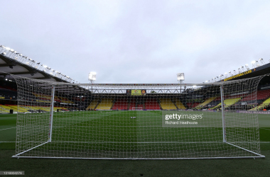 WATFORD, ENGLAND - MAY 08: General view inside the stadium prior to the Sky Bet Championship match between Watford and Swansea City at Vicarage Road on May 08, 2021 in Watford, England. Sporting stadiums around the UK remain under strict restrictions due to the Coronavirus Pandemic as Government social distancing laws prohibit fans inside venues resulting in games being played behind closed doors. (Photo by Richard Heathcote/Getty Images)