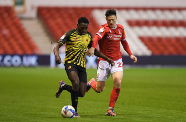 <div>Jeremy Ngakia of Watford battles for the ball with Joe Lolley of Nottingham Forest during the Sky Bet Championship match between Nottingham Forest and Watford at the City Ground, Nottingham on Wednesday 2nd December 2020. (Photo by Jon Hobley/MI News/NurPhoto via Getty Images)</div><div><br></div>