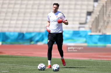 BAKU, AZERBAIJAN - JUNE 15: Wayne Hennessey of Wales in action during the Wales Training Session ahead of the Euro 2020 Group A match between Turkey and Wales at Tofiq Bahramov Stadium on June 15, 2021 in Baku, Azerbaijan. (Photo by Naomi Baker/Getty Images)
