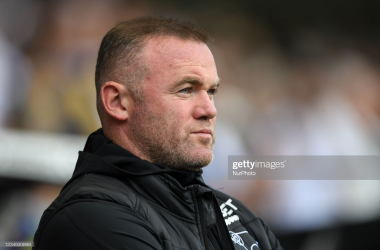 WEST BROMWICH, ENGLAND - SEPTEMBER 14: Derby County Manager Wayne Rooney during the Sky Bet Championship match between West Bromwich Albion and Derby County at The Hawthorns on September 14, 2021 in West Bromwich, England. (Photo by Tony Marshall/Getty Images)