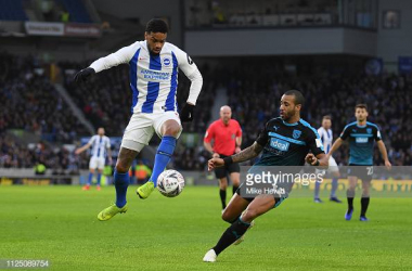 Jurgen Locadia and Tyrone Mears in action at the Amex images courtesy of Mike Hewitt on Getty Images.