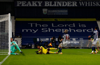 Ivan Cavaleiro of Fulham scores his team's second goal during the Premier League match between West Bromwich Albion and Fulham at The Hawthorns on January 30, 2021 in West Bromwich, England.  (Photo by Jason Cairnduff - Pool/Getty Images)