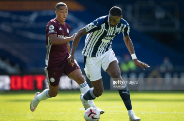 WEST BROMWICH, ENGLAND - SEPTEMBER 13: Semi Ajayi of West Bromwich Albion and Youri Tielemans of Leicester City in action during the Premier League match between West Bromwich Albion and Leicester City at The Hawthorns on September 13, 2020 in West Bromwich, United Kingdom. (Photo by Visionhaus)