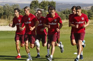 Tiago y Giménez se retiran del entrenamiento vespertino del Atlético por molestias Foto: At. Madrid