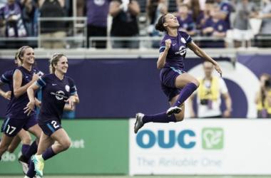 Kristen Edmonds scored both goals in a 2-1 victory over Boston (photo courtesy of Orlando Pride)