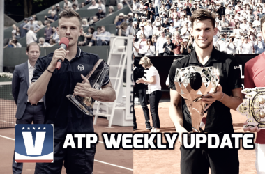 Marton Fucsovics (left) and Dominic Thiem were victorious last week on the European clay. Photos: Geneva Open/Lyon Open