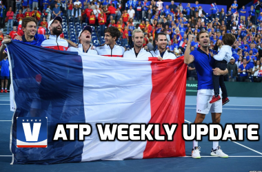Team France celebrate their win over Spain in Davis Cup. Photo: Corinne Debreuil/Davis Cup