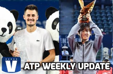 Bernard Tomic (left) and Yoshihito Nishioka (right) were the big winners last week. Photos: ChenguOpen, Shenzhen Open