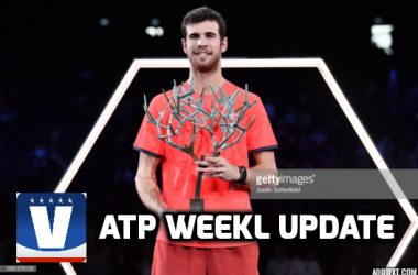 Karen Khachanov hoisted his first Masters 1000 trophy in Paris. Photo: Justin Setterfield/Getty Images
