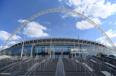 LONDON, ENGLAND - JUNE 12: A general view from outside Wembley Stadium on June 12, 2021 in London, England. (Photo by Shaun Botterill - UEFA/UEFA via Getty Images)