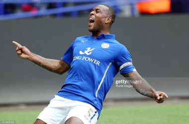 Wes Morgan of Leicester City celebrates scoring his team's second goal during the Barclays Premier League match between Leicester City and Newcastle United at The King Power Stadium on May 2, 2015 in Leicester, England. (Photo by Plumb Images/Leicester City FC via Getty Images)