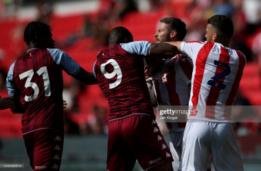 Wesley and Nick Powell clash as the Villa man sees red at the bet365 Stadium. (Photo by Jan Kruger/Getty Images)