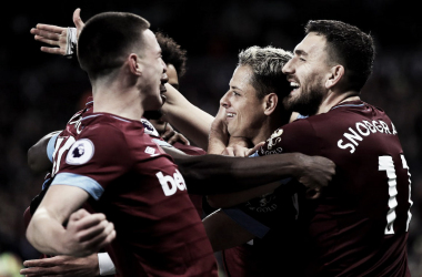 West Ham sonríe tras el cuarto tanto | Foto: Getty Images.