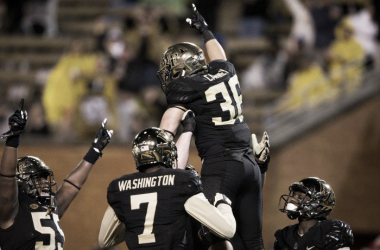 Wake Forest Players celebrate after a big play | Source: Jeremy Brevard - USA Today Sports