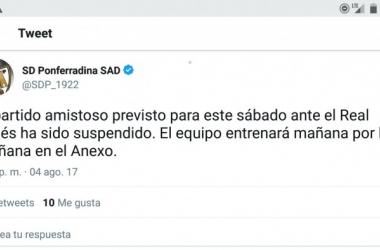 Suspendido el amistoso entre SD Ponferradina y Real Avilés