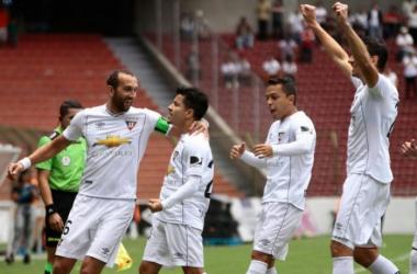 Celebración del gol de Sherman Cárdenas. Foto: Agencia API