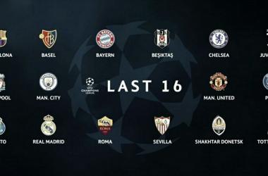 Los 16 finalistas UEFA Champions League 2017/2018 / Imagen: UEFA.com