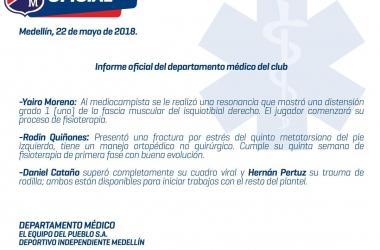 Medellín a recuperar sus jugadores para enfrentar a un feroz Tolima