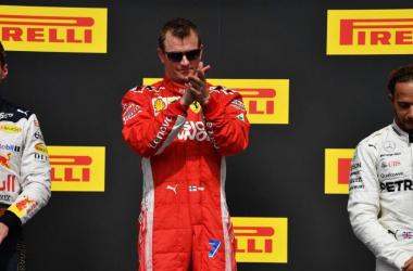 Kimi Raikkonen en el podio del GP de los Estados Unidos / Foto: Fórmula 1