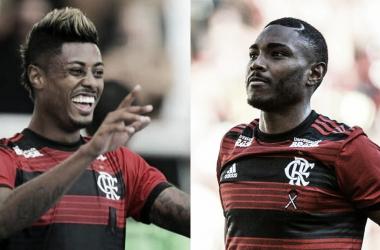 Atacantes flamenguistas em alta (Fotos: Alexandre Vidal / Flamengo)
