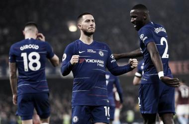 Hazard foi o cara do jogo, marcou dos gols e criou várias outras chances; (Foto: Divulgação/Chelsea)