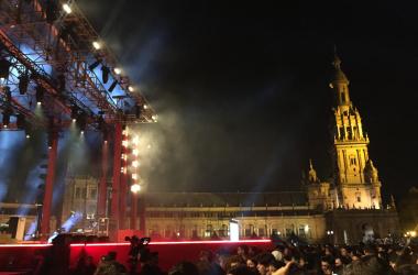 La Plaza de España de Sevilla durante el concierto de Green Day por los MTV EMA 2019 // Imagen: Anabel Gómez