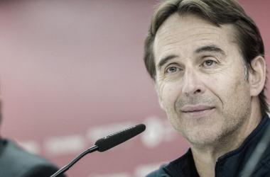 Lopetegui en rueda de prensa antes del Gran Derbi | Foto: Sevilla FC