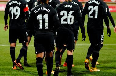 Jugadores del Granada celebrando un gol. Foto: Granada CF