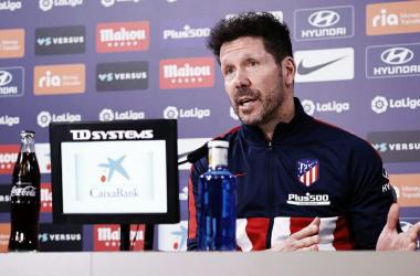 Simeone en la rueda de prensa previa al partido frente al Valencia. Foto: Twitter ATM