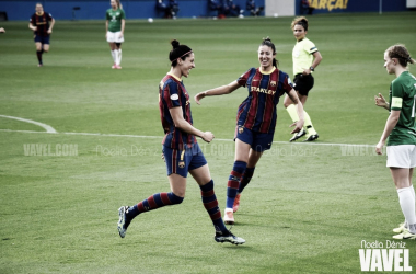 Jennifer Hermoso celebrando un gol junto a Leila Ouahabi en la presente temporada de la Primera Iberdrola | Foto de Noelia Déniz, VAVEL