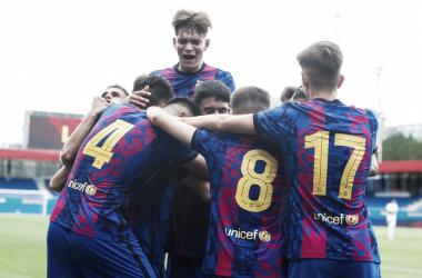 El FCB Juvenil A celebrando el segundo gol ante el FC Bayern. Foto: FC Barcelona
