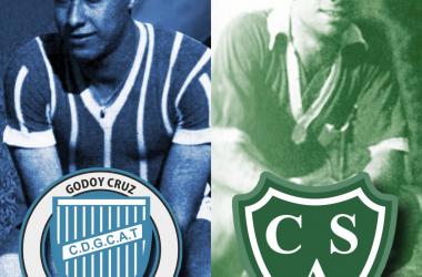 Domingo Rafael Godoy y Hebert Pérez, los jugadores con más presencias del Tomba y Sarmiento. Foto: Vavel Godoy Cruz.
