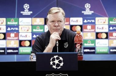 Ronald Koeman en la rueda de prensa previa al duelo ante el Dinamo de Kiev. Foto: FC Barcelona