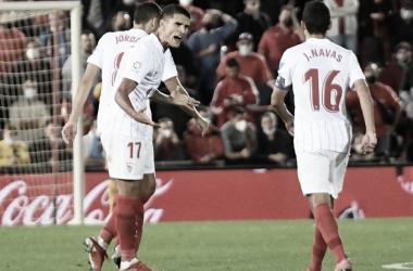 Lamela tras anotar su gol. -Sevilla FC