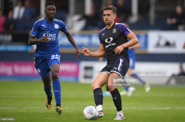 LUTON, ENGLAND - JULY 26: Glen Rea of Luton in action with Wilfried Ndidi of Leicester during the pre-season friendly match between Luton Town and Leicester City at Kenilworth Road on July 26, 2017 in Luton, England. (Photo by Michael Regan/Getty Images)