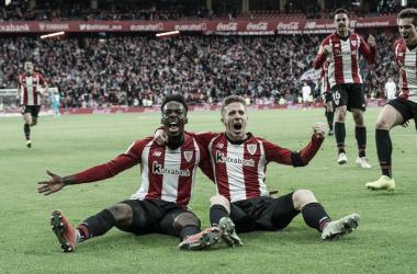 Williams y Muniain celebran uno de los goles del Athletic | Fotografía: Twitter oficial Iñaki Williams