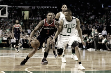 Washington Wizards guard Bradley Beal (3) controls the ball against Boston Celtics guard Avery Bradley (0). Photo:David Butler II-USA-TODAY Sports