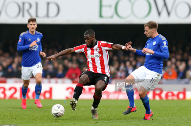 BRENTFORD, ENGLAND - JANUARY 25: Marc Albrighton of Leicester City in action with Dru Yearwood of Brentford during the FA Cup Fourth Round match between Brentford FC and Leicester City at Griffin Park on January 25, 2020 in Brentford, England. (Photo by Plumb Images/Leicester City FC via Getty Images)