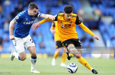 LIVERPOOL, ENGLAND - MAY 19: Rayan Ait-Nouri of Wolverhampton Wanderers is challenged by Seamus Coleman of Everton during the Premier League match between Everton and Wolverhampton Wanderers at Goodison Park on May 19, 2021 in Liverpool, England. A limited number of fans will be allowed into Premier League stadiums as coronavirus restrictions begin to ease in the UK. (Photo by Jack Thomas - WWFC/Wolves via Getty Images)