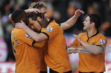 WOLVERHAMPTON, ENGLAND - DECEMBER 20: Nenad Milijas of Wolves is congratulated on scoring during the Barclays Premier League match between Wolverhampton Wanderers and Burnley at Molineux Stadium on December 20, 2009 in Wolverhampton, England. (Photo by Laurence Griffiths/Getty Images)