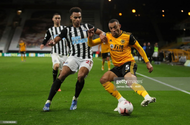 <div>WOLVERHAMPTON, ENGLAND - OCTOBER 25: Jacob Murphy of Newcastle United and Marcal of Wolverhampton Wanderers during the Premier League match between Wolverhampton Wanderers and Newcastle United at Molineux on October 25, 2020 in Wolverhampton, United Kingdom. Sporting stadiums around the UK remain under strict restrictions due to the Coronavirus Pandemic as Government social distancing laws prohibit fans inside venues resulting in games being played behind closed doors. (Photo by James Baylis - AMA/Getty Images)</div>
